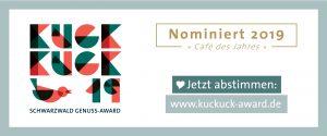 """Banner mit Informationen zur Nominierung """"Cafe des Jahres"""" beim kuckuck award 2019."""